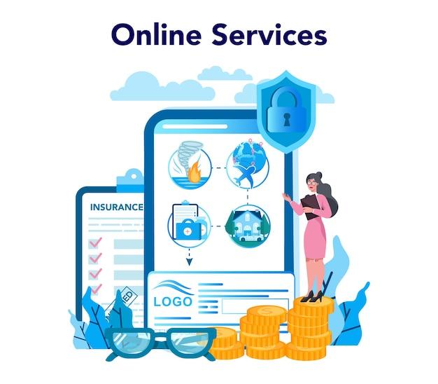 Serviço ou plataforma online de agente de seguros. ideia de segurança e proteção da propriedade e da vida contra danos. Vetor Premium