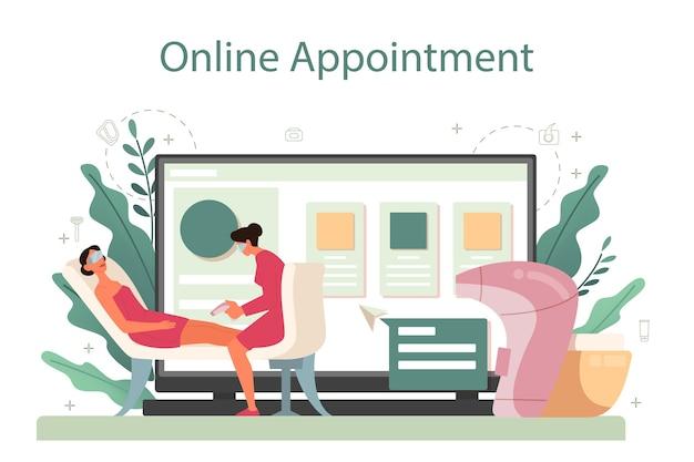 Serviço ou plataforma online de depilação e depilação. ideia de métodos de remoção de cabelo. consulta online. Vetor Premium