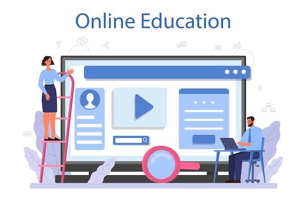 Serviço ou plataforma online de desenvolvedor de software. ideia de programação e codificação, sistema. desenvolvimento de software. educação online. ilustração vetorial isolada Vetor Premium