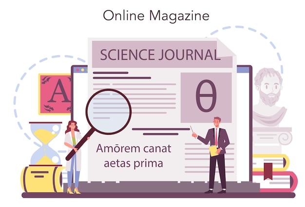 Serviço ou plataforma online de filólogo Vetor Premium
