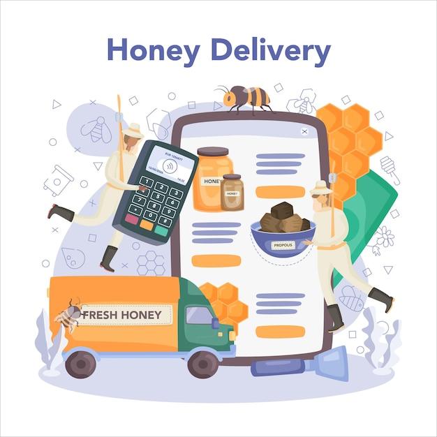 Serviço ou plataforma online de hiver ou apicultor Vetor Premium