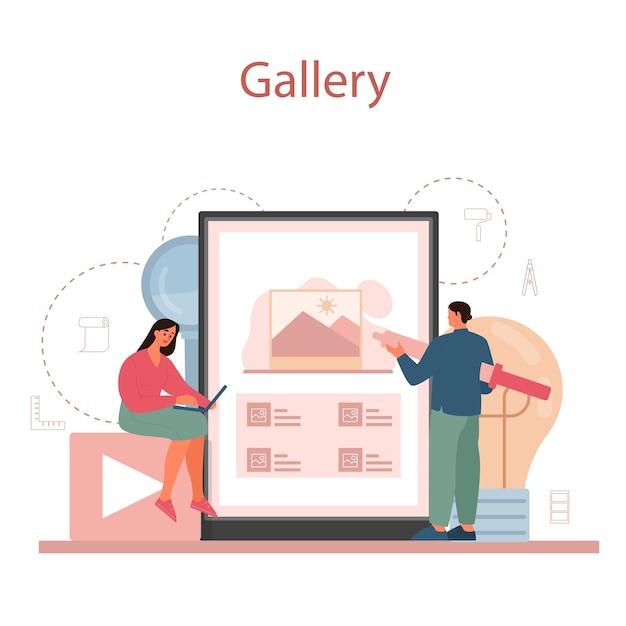 Serviço ou plataforma online de ilustrador gráfico ou digital. desenho digital com ferramentas e equipamentos eletrônicos. galeria online. Vetor Premium
