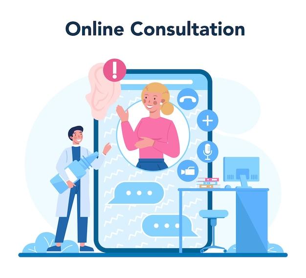 Serviço ou plataforma online de otorrinolaringologista Vetor Premium