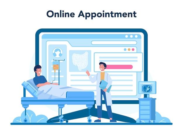 Serviço ou plataforma online de proctologista. médico examina intestino Vetor Premium