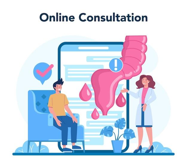 Serviço ou plataforma online de proctologista. o médico examina o intestino. consulta online. ilustração vetorial isolada Vetor Premium