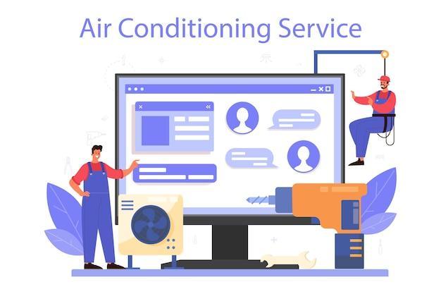 Serviço ou plataforma online de serviço de reparo e instalação de ar condicionado. Vetor Premium
