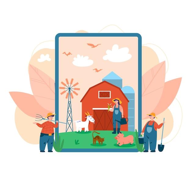 Serviço ou plataforma online para fazendeiros Vetor Premium