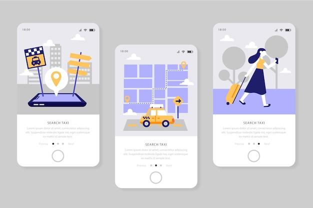 Serviço para telas de aplicativos de táxi Vetor grátis