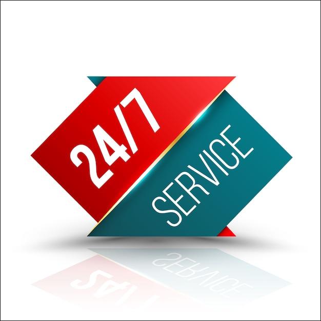 Serviço verde da seta vermelha 24/7 Vetor Premium