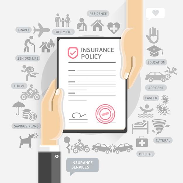 Serviços de apólice de seguro. as mãos dão papel de documento de seguro. Vetor Premium
