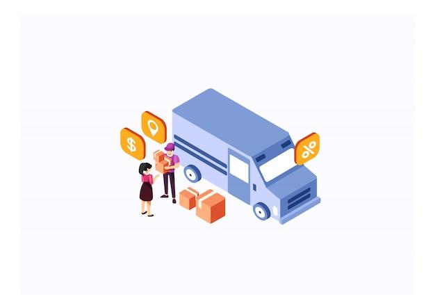 Serviços de caminhão de entrega isométrica Vetor Premium