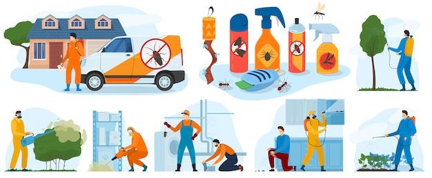 Serviços de controle de pragas, exterminador de insetos com spray de inseticida e na ilustração de ícones de panos de proteção. Vetor Premium