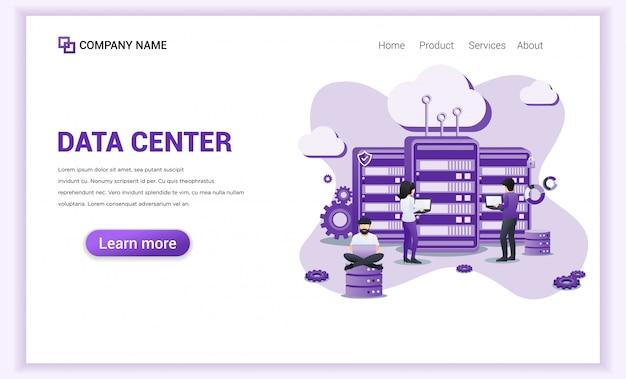 Serviços de data center para o modelo da página de destino. Vetor Premium