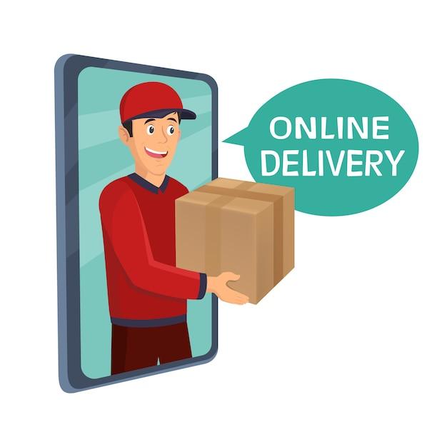 Serviços de entrega de correio jovem de segurando uma caixa grande Vetor Premium