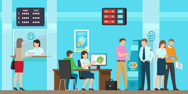 Serviços de operação bancária de toda a ilustração amável do vetor. Vetor Premium