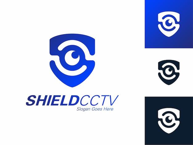Serviços de segurança escudo olho mão logotipo cctv defender modelo de design assistindo tecnologia de contorno azul Vetor Premium