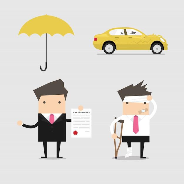 Serviços de seguros de negócios conceituais. Vetor Premium