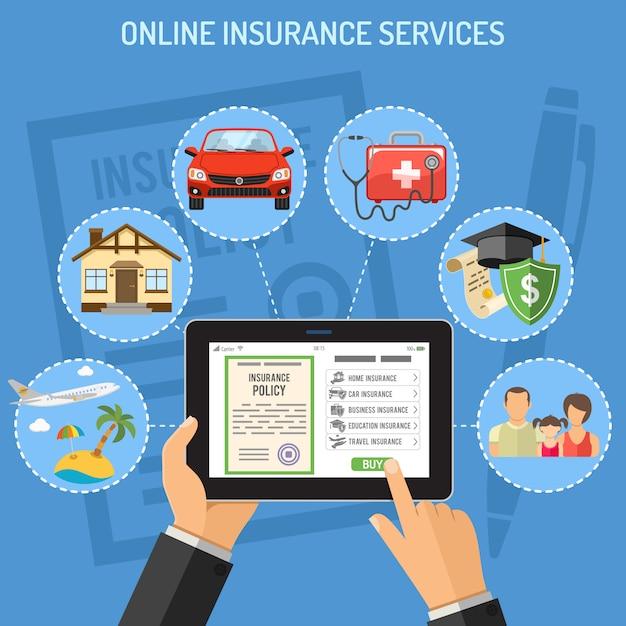 Serviços de seguros online Vetor Premium