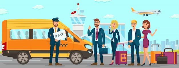 Serviços de táxi no aeroporto Vetor Premium