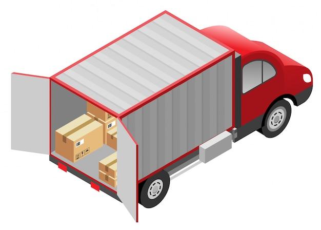 Serviços de transporte, entrega de mercadorias. caixas de papelão e caminhão van Vetor Premium