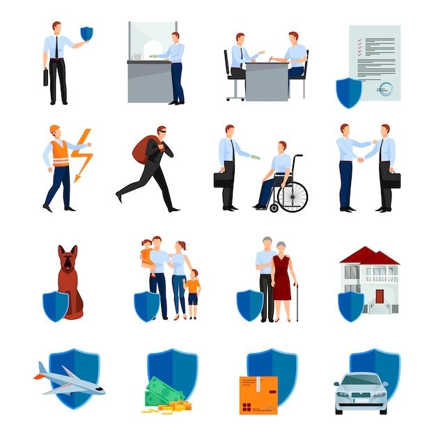 Serviços do conjunto de caracteres de companhia de seguros com segurança de negociações de política de saúde e propriedade isolada ilustração vetorial Vetor grátis