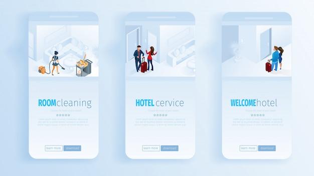 Serviços do hotel limpeza do quarto welcome social media Vetor Premium