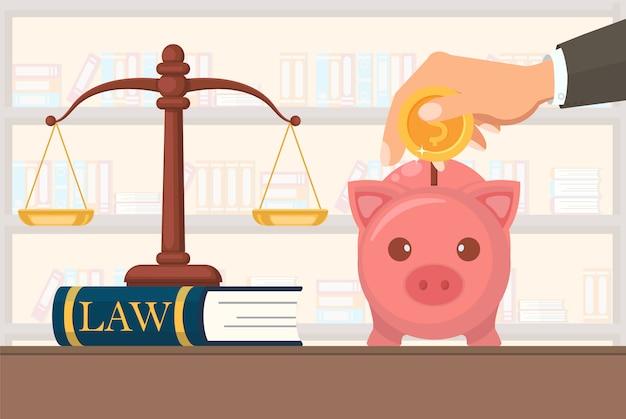 Serviços jurídicos do pagamento liso da ilustração do vetor. Vetor Premium