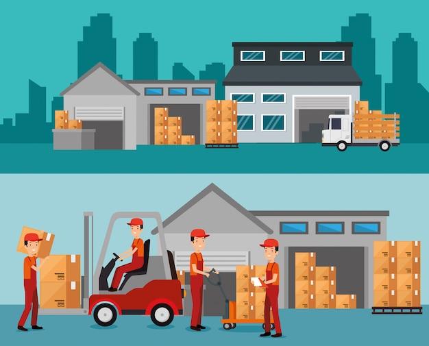 Serviços logísticos com construção de armazém Vetor grátis