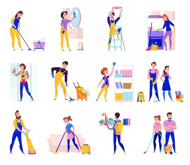 Serviços profissionais de limpeza ícones planas conjunto com prateleiras espanando o chuveiro lavando pisos limpando ilustração isolada Vetor grátis