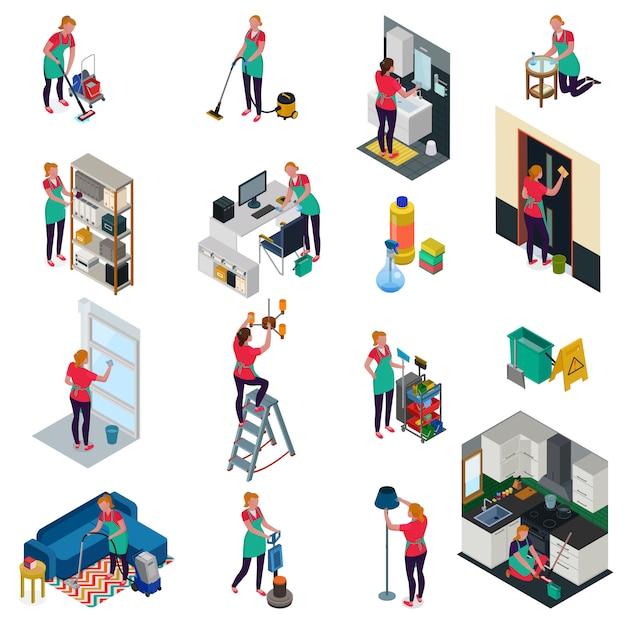 Serviços profissionais de limpeza para escritório e apartamento conjunto de ícones isométricos isolados Vetor grátis