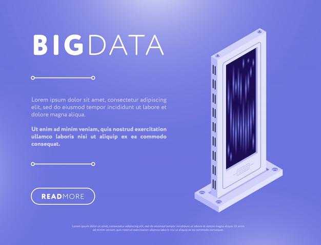 Servidor de banco de dados isométrico no design de páginas da web Vetor Premium
