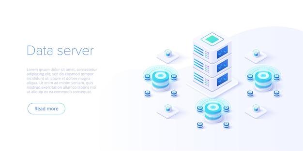 Servidor de hospedagem isométrico. fundo abstrato do datacenter ou blockchain. Vetor Premium