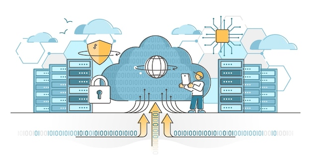 Servidores de data center para hospedagem em nuvem e conceito de esboço de serviço de armazenamento. tecnologia de banco de dados de informações com backup seguro e ilustração de criptografia. sistema global de upload de arquivos pela internet. Vetor Premium