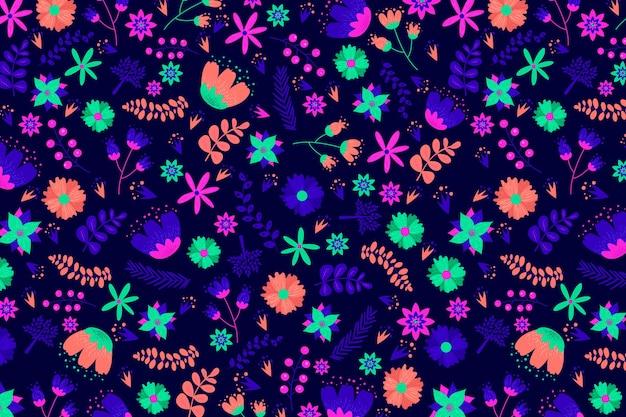 Servindo padrão floral com flores coloridas brilhantes Vetor grátis