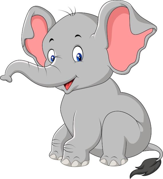 Sess o de elefante de beb fofo dos desenhos animados - Fotos de elefantes bebes ...