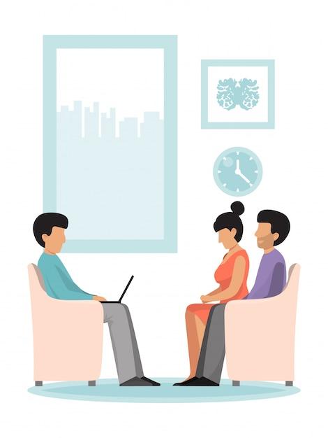 Sessão de psicoterapia de psicólogo com a família. psicoterapeuta profissional tendo sessão. família falando sobre problemas no casamento. Vetor Premium