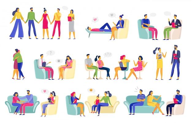 Sessão de psicoterapia. terapia psicológica, psicólogo de família e sessões de psicoterapeuta vector conjunto de ilustração Vetor Premium
