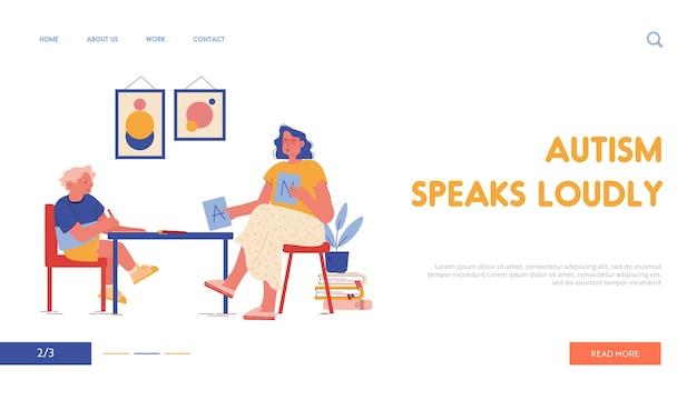 Sessão de terapia com modelo de página inicial de transtorno de autismo infantil. psicólogo character show abc cards, educação e processo de aprendizagem paciente e terapeuta. cartoon people Vetor Premium