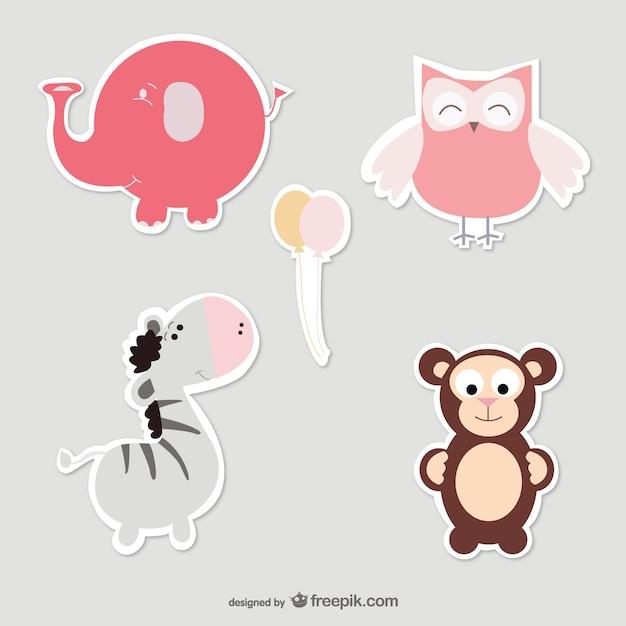 Set animais do bebê vetor Vetor grátis