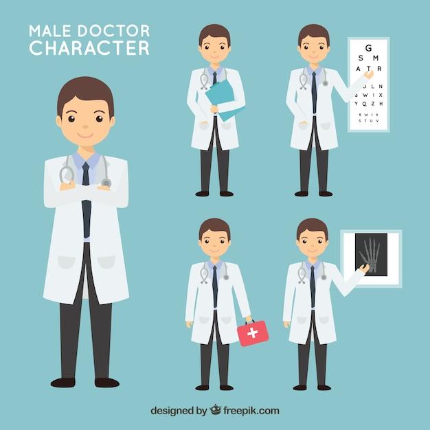Set of doctor fazendo diferentes atividades Vetor grátis