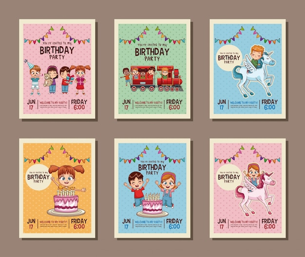 Set on birthday kids party invitation card ilustrao vetorial set on birthday kids party invitation card ilustrao vetorial vetor premium stopboris Gallery