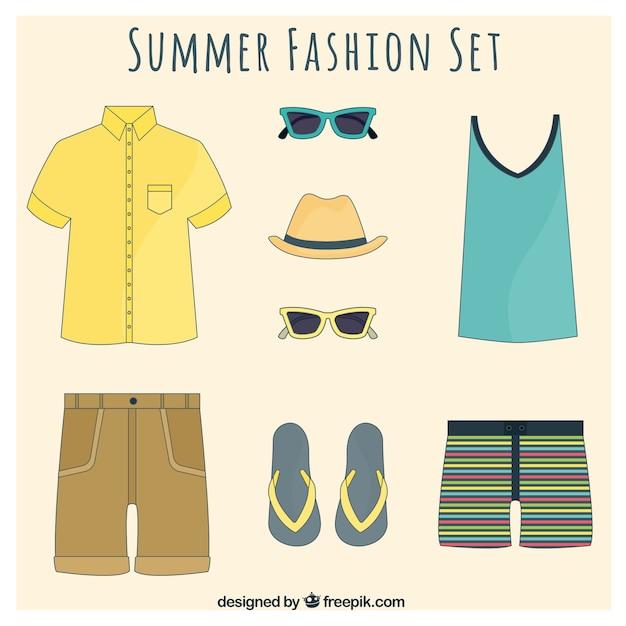 Set verão moda para homens Vetor grátis