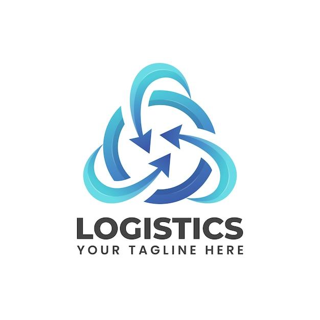 Seta arredondada para um círculo. forma moderna abstrata azul pode ser usada para ilustração do logotipo da empresa de logística Vetor Premium