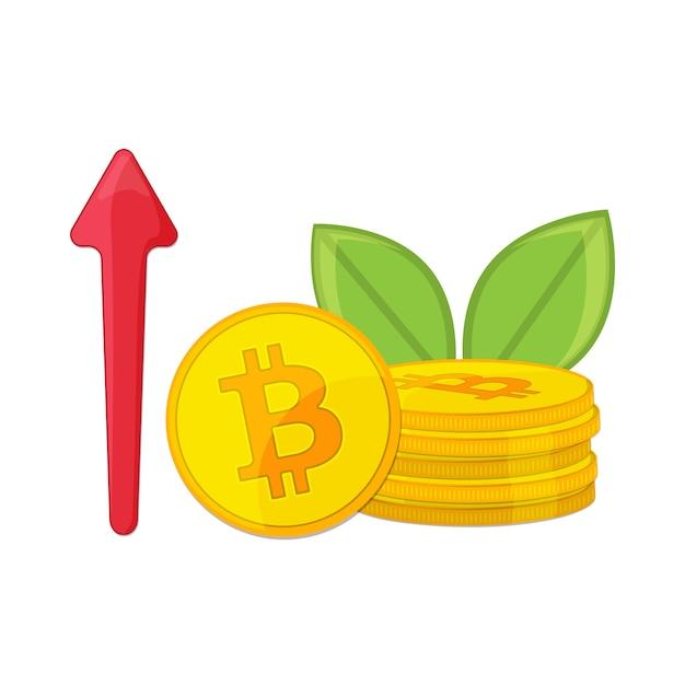 Seta de linha de criptomoeda bitcoin dourada e tendência de alta Vetor Premium