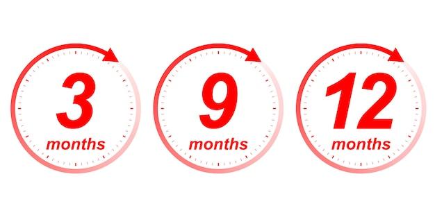 Seta do relógio de meses Vetor Premium