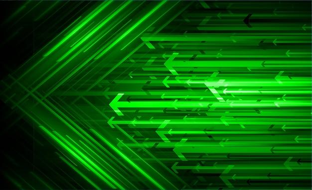 Seta verde luz abstrato tecnologia fundo Vetor Premium