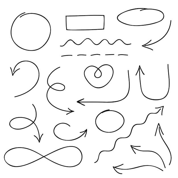 Setas, círculos e doodle conjunto de símbolos Vetor Premium