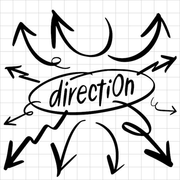 Setas de direções desenhadas a mão desenha o conjunto de elemento Vetor Premium