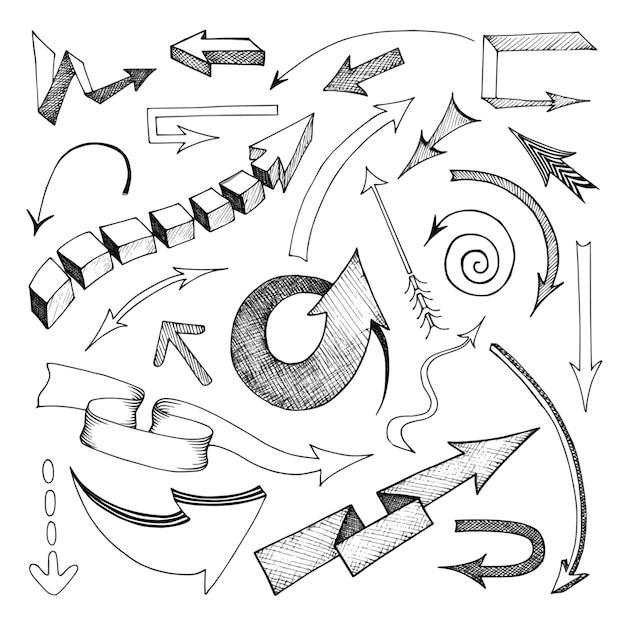 Setas de mão desenhada de lápis definir ilustração vetorial isolados plana Vetor Premium