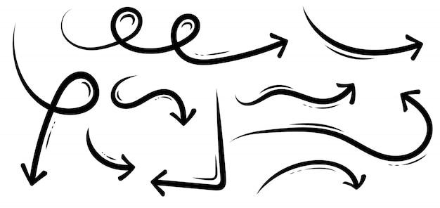 Setas de mão desenhada doodle doodle de esboço do grunge. Vetor Premium
